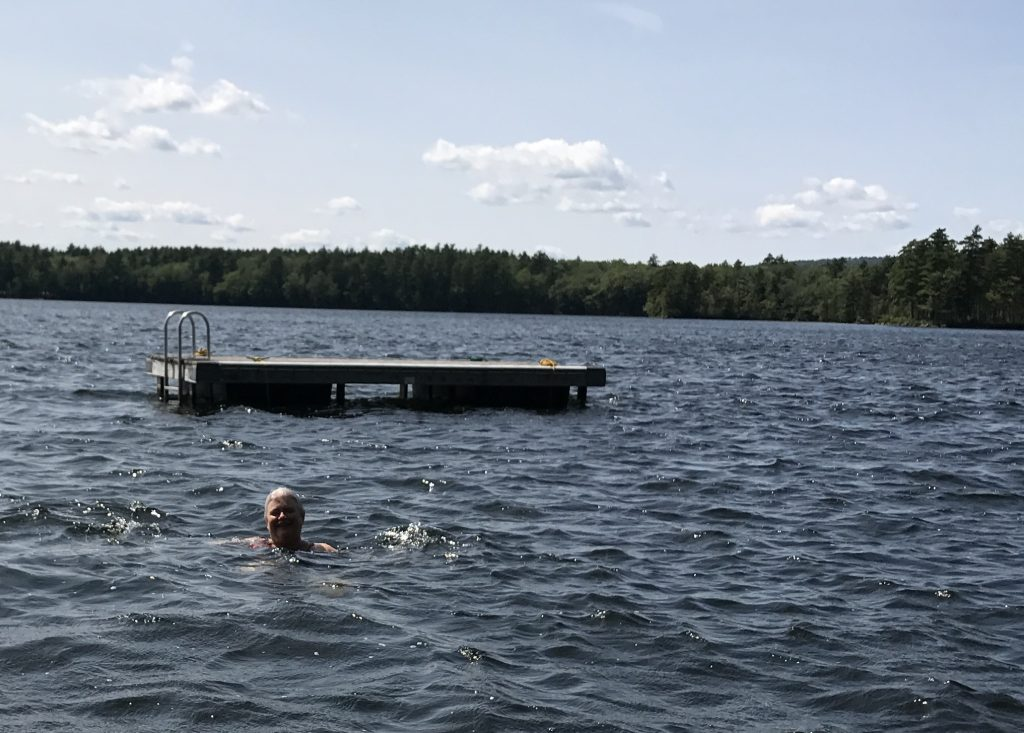 Maureen swimming in the beautiful Medomak Lake