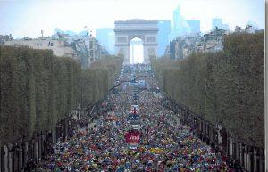 40,000 runners in the Paris Marathon